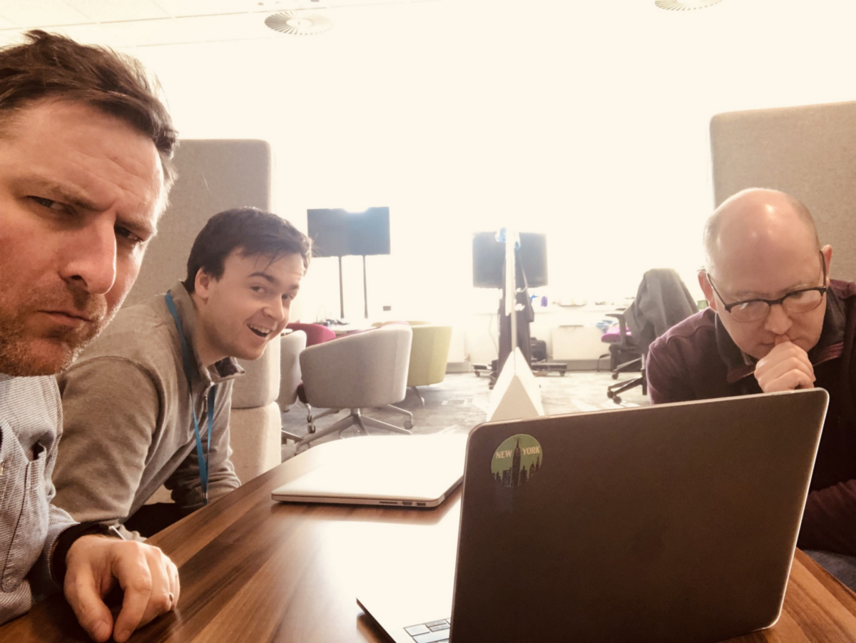 On a video call with James, Mark, and Janine (who was on the other end of the line). We are trying to work out where we are up to ahead of user research sessions the next day.