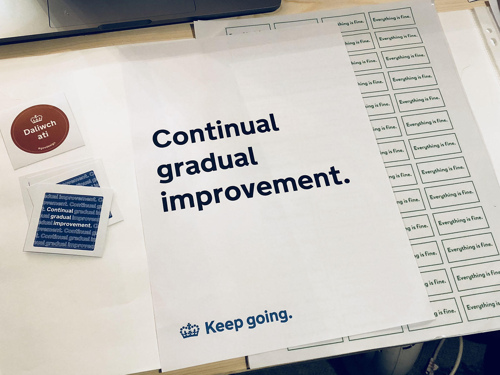 The Continual Gradual Improvement poster on my study desk. Out of shot is all the shit I don't want you to see.