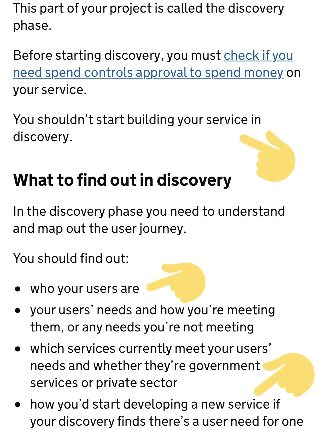 A grab from the gov.uk service manual, showing an opening section from the page on discovery
